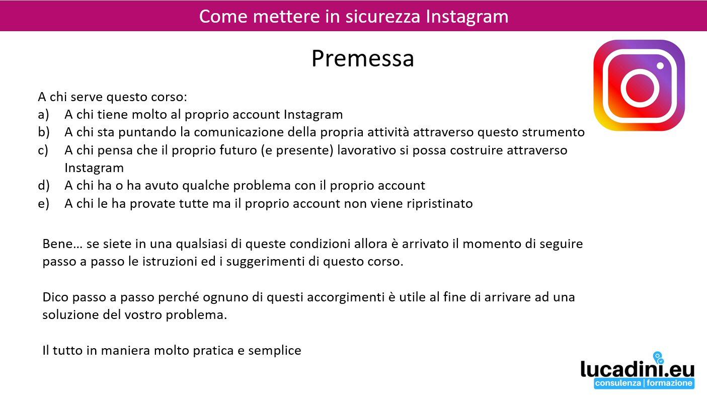 Screen Premessa Corso Instagram